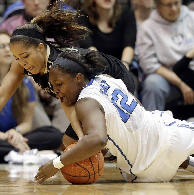 Duke's Chelsea Gray (12) and Vanderbilt's Jasmine Lister dive for a loose ball during the second half of an NCAA college basketball game in Durham, N.C., Thursday, Nov. 21, 2013