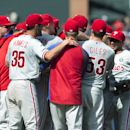 The Philadelphia Phillies celebrate after a combined no-hit 7-0 win over the Atlanta Braves in a baseball game Monday, Sept. 1, 2014, in Atlanta. Cole Hamels, and relief pitchers Ken Giles, Jonathan Papelbon and Jake Diekman combined for the no hitter. (AP Photo/John Bazemore)
