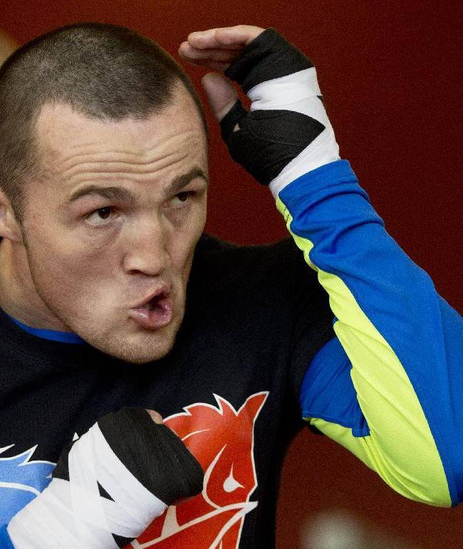 WBA cruiserweight title holder Denis Lebedev, of Russia, attends an open training session in Moscow, Russia, Wednesday, April 23, 2014. In May 2013 Guillermo Jones, of Panama, stopped Lebedev on a technical knockout in 11th round. Then, the WBA handed the title back to Lebedev when Jones failed a drug test. Jones was made WBA champion-in-recess on the condition he must fight Lebedev again. A rematch is scheduled for April 25 in Moscow