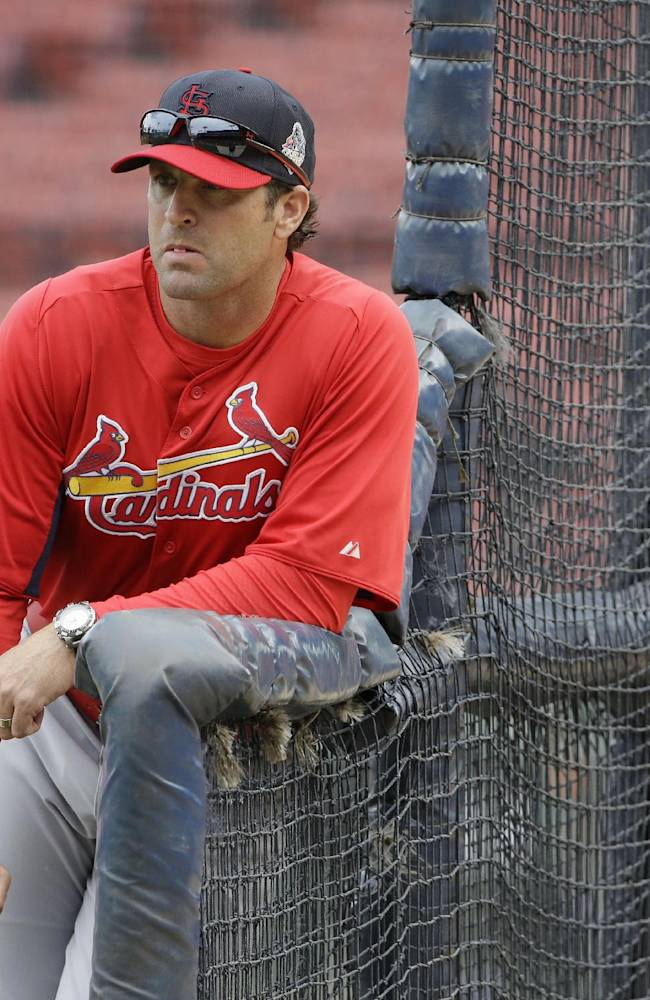 St. Louis Cardinals manager Mike Matheny watches batting practice for Game 1 of baseball's World Series against the Boston Red Sox Tuesday, Oct. 22, 2013, in Boston
