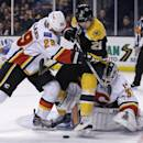 Calgary Flames defenseman Deryk Engelland (29) tries to clear Boston Bruins left wing Loui Eriksson (21) away from the net as Flames goalie Karri Ramo looks to cover the puck during the second period of an NHL hockey game in Boston, Thursday, March 5, 2015. (AP Photo/Charles Krupa)