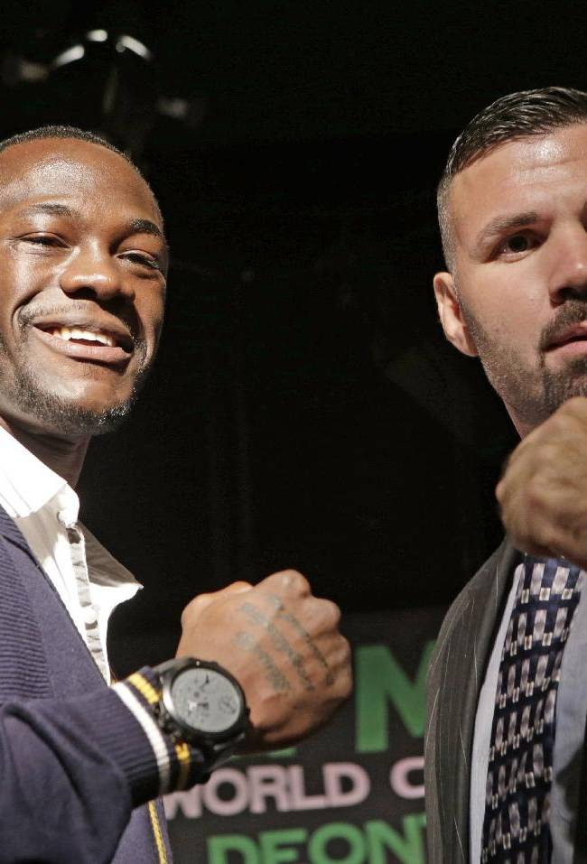 Boxers Deontay Wilder, left, of Tuscaloosa, Ala., poses with Nicolai Firtha of Akron, Ohio, during a news conference, Wednesday, Oct. 23, 2013, in New York. The pair square off in a 10-round heavyweight bout on Saturday in Atlantic City, N.J