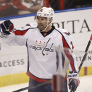Washington Capitals' Troy Brouwer celebrates a goal against the Florida Panthers during the second period of an NHL hockey game, Thursday, Feb. 27, 2014, in Sunrise, Fla The Associated Press