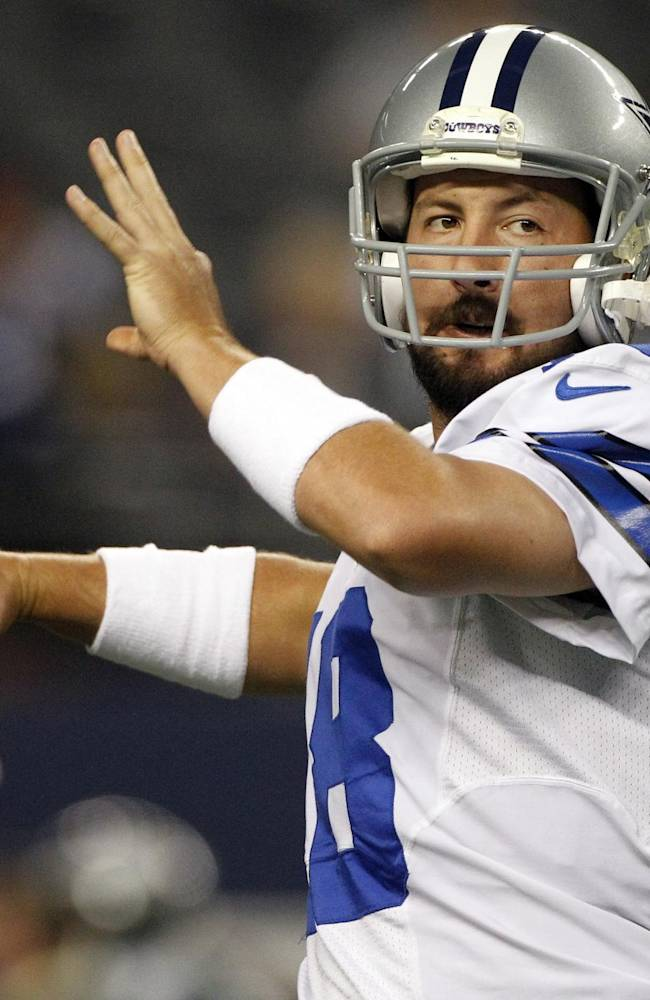 In this Sunday Dec. 2, 2012 file photo, Dallas Cowboys quarterback Kyle Orton (18) passes the ball before an NFL football game against the Philadelphia Eagles  in Arlington, Texas. The Dallas Cowboys are releasing Kyle Orton after their backup quarterback missed all the offseason workouts amid reports that he was considering retirement, Tuesday, July 15, 2014