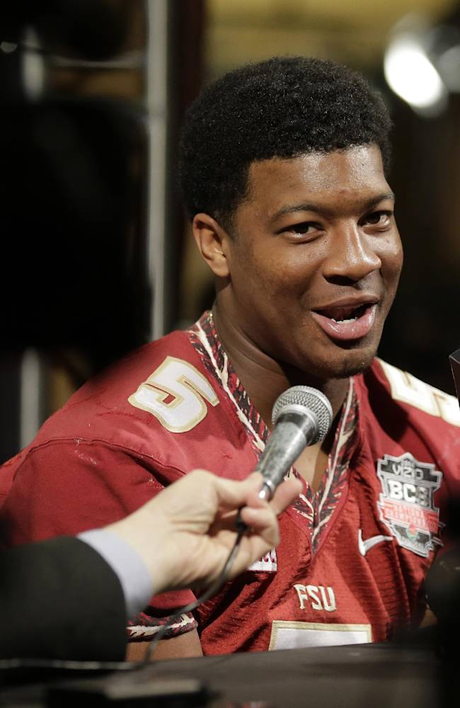 Florida State's Jameis Winston answers a question during media day for the NCAA BCS National Championship college football game Saturday, Jan. 4, 2014, in Newport Beach, Calif. Florida State plays Auburn on Monday, Jan. 6, 2014