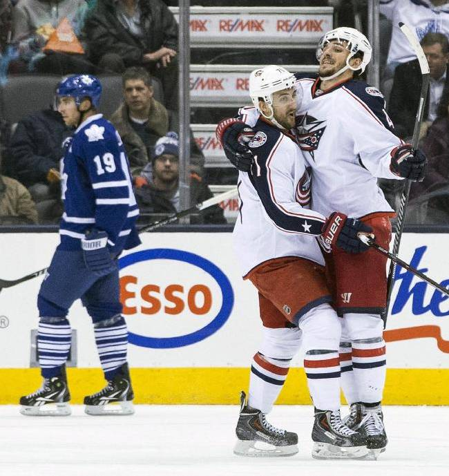 Columbus Blue Jackets Artem Anismov, right, celebrates with Nick Folingo after Anismov scored a goal against the Toronto Maple Leafs during the second period of an NHL hockey game in Toronto on Monday, March 3, 2014