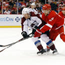Detroit Red Wings center Riley Sheahan (15) tries to take the puck from Colorado Avalanche defenseman Erik Johnson (6) during the second period of an NHL hockey game in Detroit Sunday, Dec. 21, 2014. (AP Photo/Paul Sancya)