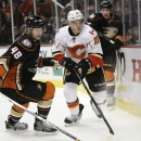 Anaheim Ducks' Colby Robak, left, and Calgary Flames' Mikael Backlund, of Sweden, compete for the puck during the first period of an NHL hockey game, Wednesday, Jan. 21, 2015, in Anaheim, Calif The Associated Press