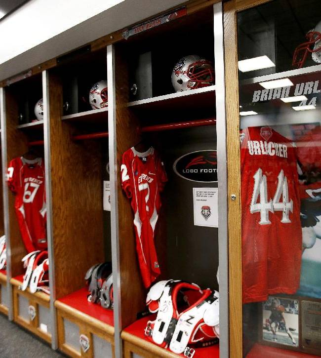 A special permanent locker is set up in the New Mexico football team locker room for former player Brian Urlacher, who also played in the NFL for the Chicago Bears, prior to an NCAA college football game against the Air Force on Friday, Nov. 8, 2013, in Albuquerque, N.M.  Urlacher's jersey number is set to be retired during a halftime ceremony