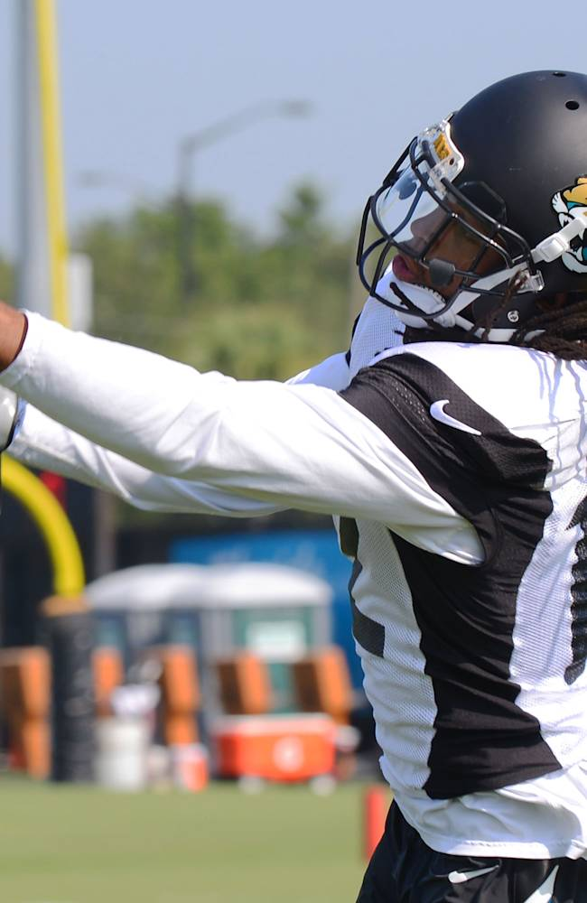 Jacksonville Jaguars wide receiver Mike Brown catches a pass during a NFL football training camp, Wednesday, Aug. 6, 2014 in Jacksonville, Fla