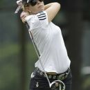 Paula Creamer watches her tee shot on the 11th hole during the first round of the Kingsmill Championship LPGA Tour golf tournament in Williamsburg , Va., Thursday, Sept. 6, 2012.  Creamer shared the lead at 6-under after 11 holes  when play was suspended due to inclement weather.  ( AP Photo/Steve Helber)