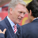 Sunderland manager David Moyes, left, and Middlesbrough manager Aitor Karanka, during their teams' Premier League match at the Stadium of Light, Sunderland, England, Sunday Aug. 21, 2016. (Richard Sellers/PA via AP)