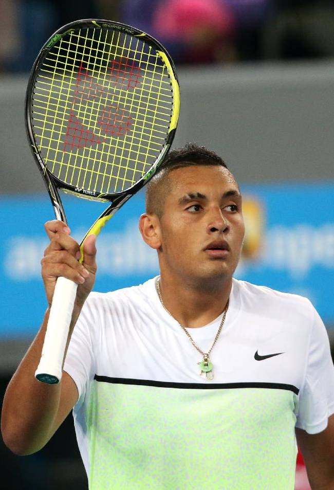 Nick Kyrgios of Australia celebrates after beating Federico Delbonis of Argentina during their first round match at the Australian Open tennis championship in Melbourne, Australia, Monday, Jan. 19, 2015