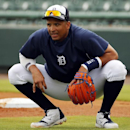 Detroit Tigers' Victor Martinez takes a break during a fielding drill before an exhibition spring training baseball game between the Tigers and the Pittsburgh Pirates in Lakeland, Fla., Tuesday, March 4, 2014 The Associated Press