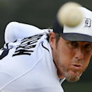 Detroit Tigers relief pitcher Joe Nathan warms up before the fifth inning of an exhibition baseball game against the Pittsburgh Pirates in Lakeland, Fla., Tuesday, March 4, 2014. The Pirates won 5-2 The Associated Press