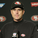 San Francisco 49ers head coach Jim Harbaugh talks to the media after the Seattle Seahawks defeated the 49ers 17-7 in an NFL football game Sunday, Dec. 14, 2014, in Seattle. (AP Photo/John Froschauer)