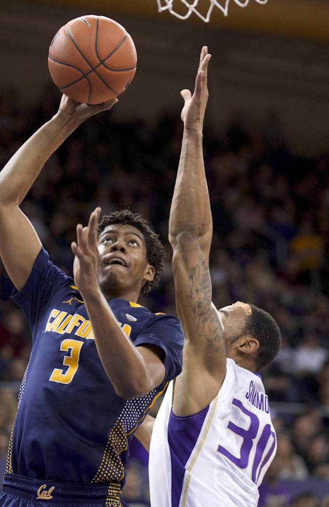 California's Tyrone Wallace (3) shoots over Washington's Desmond Simmons (30) during the first half of an NCAA college basketball game Saturday, Feb. 15, 2014