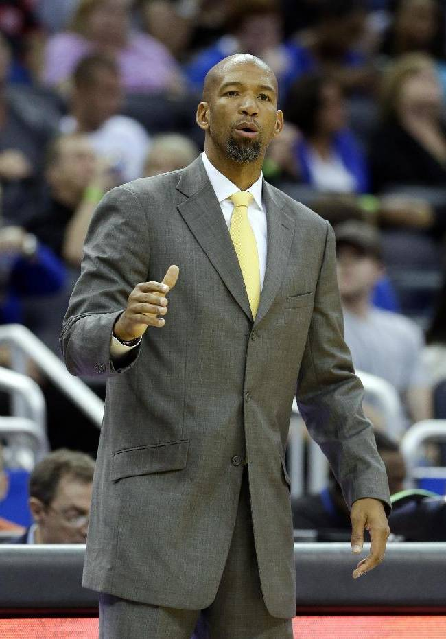 New Orleans Pelicans head coach Monty Williams directs his team against the Orlando Magic during the second half of an NBA preseason basketball game in Orlando, Fla., Friday, Oct. 25, 2013. New Orleans won 101-82