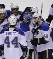 St. Louis Blues goalie Brian Elliott (1) is surrounded by teammates against the San Jose Sharks after Game 3 of an NHL Stanley Cup first-round hockey playoff series, Monday, April 16, 2012 in San Jose, Calif. The Blues defeated the Sharks 4-3. (AP Photo/Paul Sakuma)
