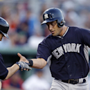New York Yankees catcher Francisco Cervelli, right, is greeted by second baseman Scott Sizemore after Cervelli's solo home run in the second inning of an exhibition baseball game against the Boston Red Sox in Fort Myers, Fla., Thursday, March 20, 2014 The