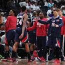 BROOKLYN, NY - MAY 1: Kyle Korver #26 of the Atlanta Hawks celebrates with his teammates in Game Six of the Eastern Conference Quarterfinals against the Brooklyn Nets during the 2015 NBA Playoffs on May 1, 2015 at Barclays Center in Brooklyn, New York. (Photo by Nathaniel S. Butler/NBAE via Getty Images)
