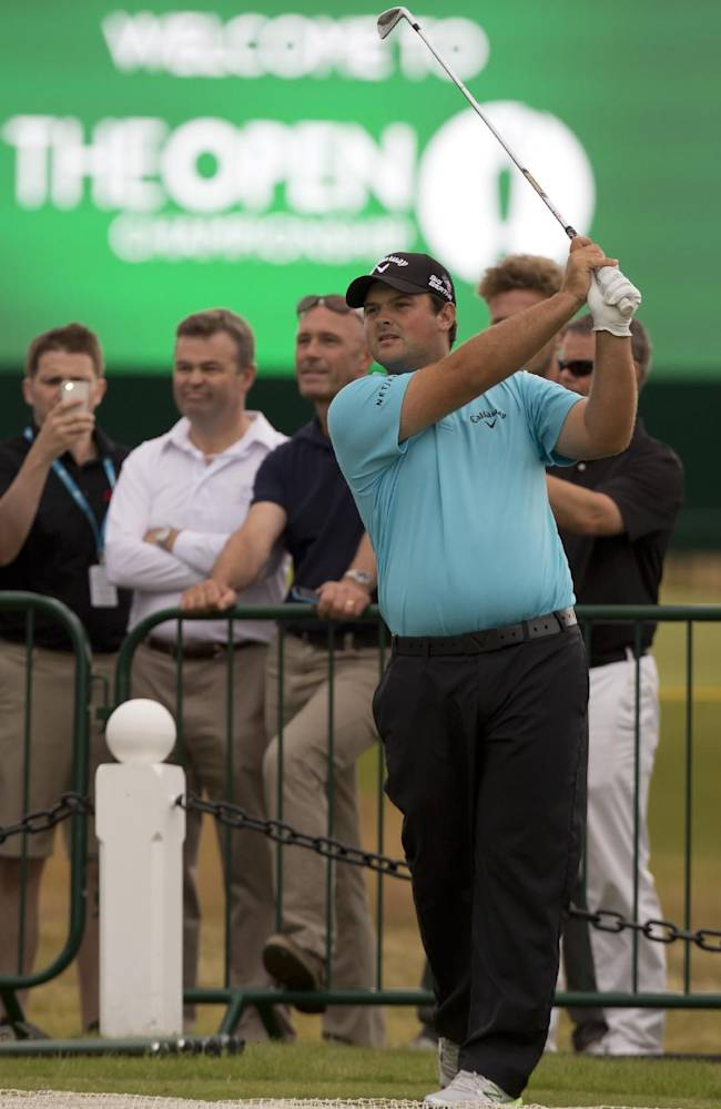 Patrick Reed of the US plays a shot off the 3rd tee during a practice round at Royal Liverpool Golf Club prior to the start of the British Open Golf Championship, in Hoylake, England, Saturday, July 12, 2014. The 2014 Open Championship starts on Thursday July 17