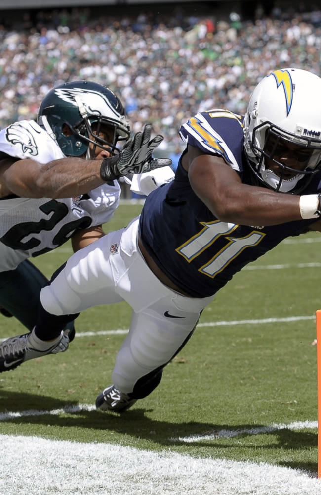 San Diego Chargers' Eddie Royal, right, dives for a touchdown as Philadelphia Eagles' Nate Allen defends during the first half of an NFL football game on Sunday, Sept. 15, 2013, in Philadelphia
