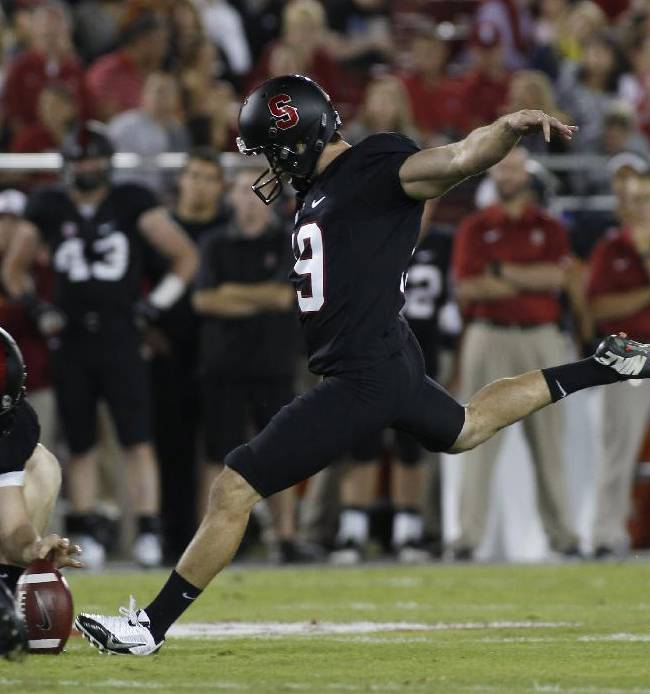 Stanford's Jordan Williamson kicks a field goal against Washington during the first half of an NCAA college football game in Stanford, Calif., Saturday, Oct. 5, 2013