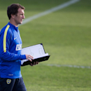 Rodolfo Arruabarrena, attends his first training session as new head coach for Argentina's Boca Juniors, in Buenos Aires, Argentina, Friday, Aug. 29, 2014. Arruabarrena became the new head coach for Boca Juniors, replacing Carlos Bianchi, fired after a 3-