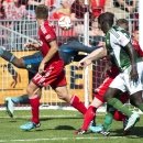 Toronto FC midfielder Michael Bradley, not shown, scores the game winning goal past Portland Timbers goal keeper Donovan Ricketts, rear, during the second half of an MLS soccer match in Toronto, Saturday, Sept. 27, 2014. Toronto won 3-2. The Associated P