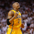 MIAMI, FL - MAY 24:  David West #21 of the Indiana Pacers reacts after a play late in the game against the Miami Heat during Game Two of the Eastern Conference Finals at AmericanAirlines Arena on May 24, 2013 in Miami, Florida. (Photo by Mike Ehrmann/Getty Images)