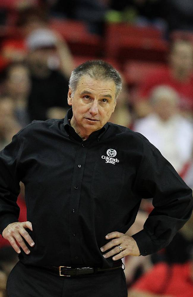 Colorado State head coach Larry Eustachy watches his team during the second half of an NCAA college basketball game against UNLV on Wednesday, Feb. 26, 2014, in Las Vegas. UNLV defeated Colorado State 78-70