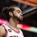 Chicago Bulls center Joakim Noah exhales during the closing second of the overtime period of Game 2 in an opening-round NBA basketball playoff series against the Washington Wizards Tuesday, April 22, 2014, in Chicago. The Wizards won 101-99 The Associated