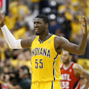 Roy Hibbert #55 of the Indiana Pacers celebrates following Game Seven of the Eastern Conference Quarterfinals of the 2014 NBA Playoffs against the Atlanta Hawks on May 3, 2014 at Bankers Life Fieldhouse in Indianapolis, Indiana. The Pacers won 92-80. (Photo by Joe Robbins/Getty Images)