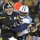 Pittsburgh Steelers quarterback Ben Roethlisberger is hit by Tennessee Titans linebacker Kamerion Wimbley (95) after Roethlisberger got a pass away in the second half of an NFL football game Monday, Nov. 17, 2014, in Nashville, Tenn The Associated Press