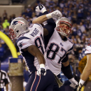 New England Patriots tight end Timothy Wright, left, celebrates his touchdown catch with teammate Rob Gronkowski during the second half of an NFL football game against the Indianapolis Colts in Indianapolis, Sunday, Nov. 16, 2014 The Associated Press