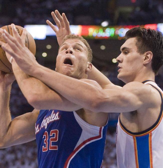 Los Angeles Clippers' forward Blake Griffin gets position on Oklahoma City Thunder's center Steven Adams during the first half in Game 5 of the NBA Western Conference semi-finals at the Chesapeake Arena in Oklahoma City on Tuesday, May 13, 2014