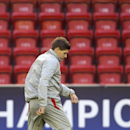 Liverpool's Steven Gerrard trains with teammates at Anfield Stadium, in Liverpool, England, Tuesday, Oct. 21, 2014. Liverpool will play Real Madrid in a Champion's League Group B soccer match on Wednesday