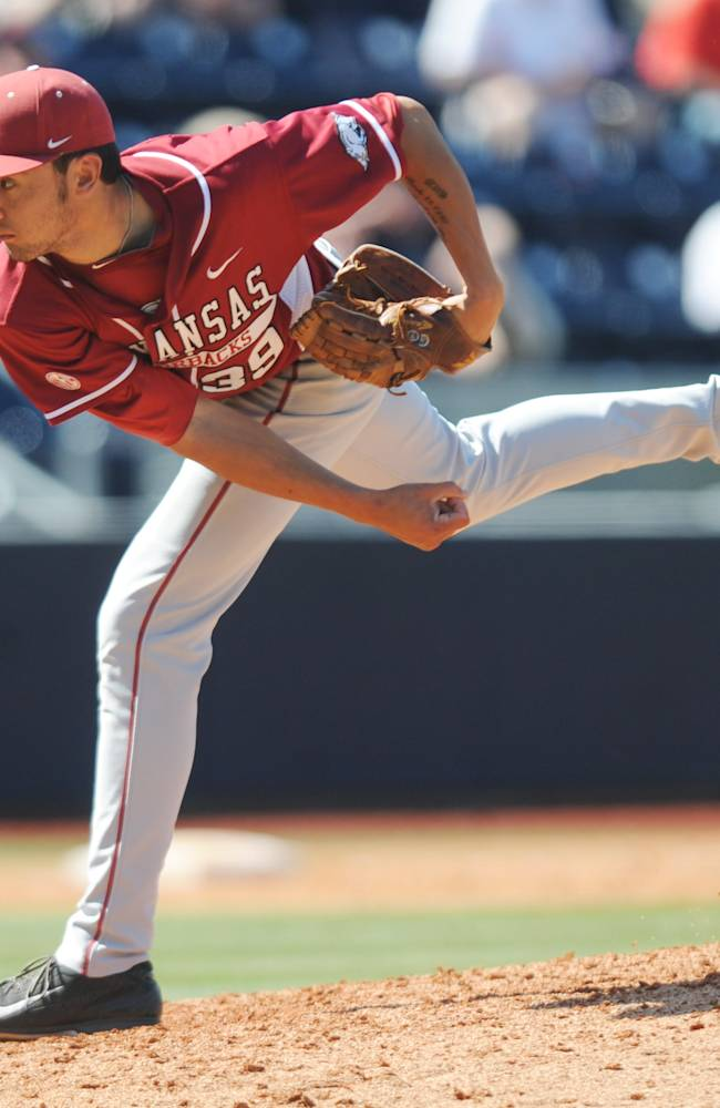 Arkansas pitcher Chris Oliver pitches against Mississippi at Oxford-University Stadium in Oxford, Miss. on Sunday, May 4, 2014. Arkansas won 11-1