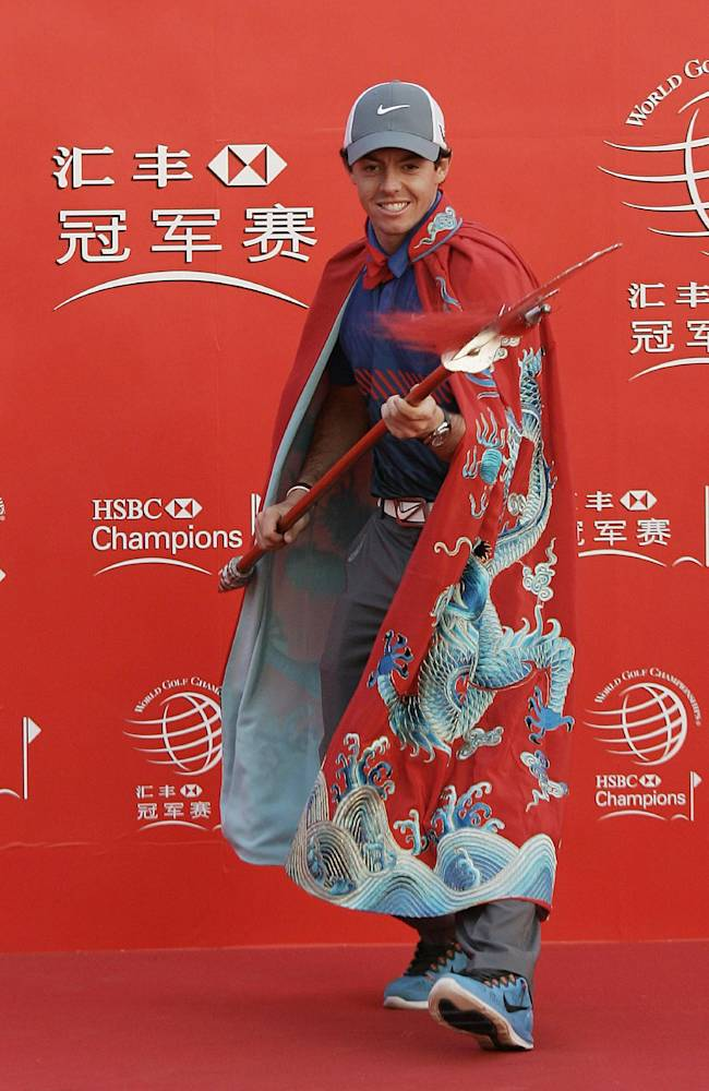 Rory McIlroy of Northern Ireland poses for photographers during a photo call at the HSBC Champions golf tournament Tuesday, Oct. 29, 2013 in Shanghai, China. The golf tournament will be held at Shanghai Sheshan International Golf Club from Oct. 31 to Nov. 3. (AP Photo)