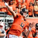 Oregon State quarterback Sean Mannion (4) throws against Wisconsin during the first half of their NCAA college football game in Corvallis, Ore., Saturday, Sept. 8, 2012. (AP Photo/ Greg Wahl-Stephens)