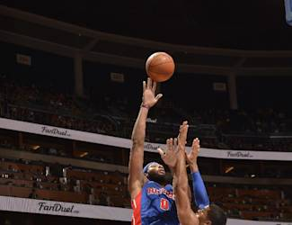 ORLANDO, FL - OCTOBER 17: Andre Drummond #0 of Detroit Pistons takes a shot against the Orlando Magic on October 17, 2014 at Amway Center in Orlando, Florida. (Photo by Fernando Medina/NBAE via Getty Images)