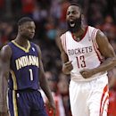 Houston Rockets' James Harden (13) screams after hitting a 3-point shot as Indiana Pacers' Lance Stephenson (1) looks off in the second half of an NBA basketball game Friday, March 7, 2014, in Houston The Associated Press