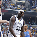 Zach Randolph #50 of the Memphis Grizzlies reacts after being called for a foul against the Oklahoma City Thunder during Game Six of the Western Conference Quarterfinals of the 2014 NBA Playoffs on May 1, 2014 at FedEx Forum in Memphis, Tennessee. The Thunder won 104-84. (Photo by Joe Robbins/Getty Images)