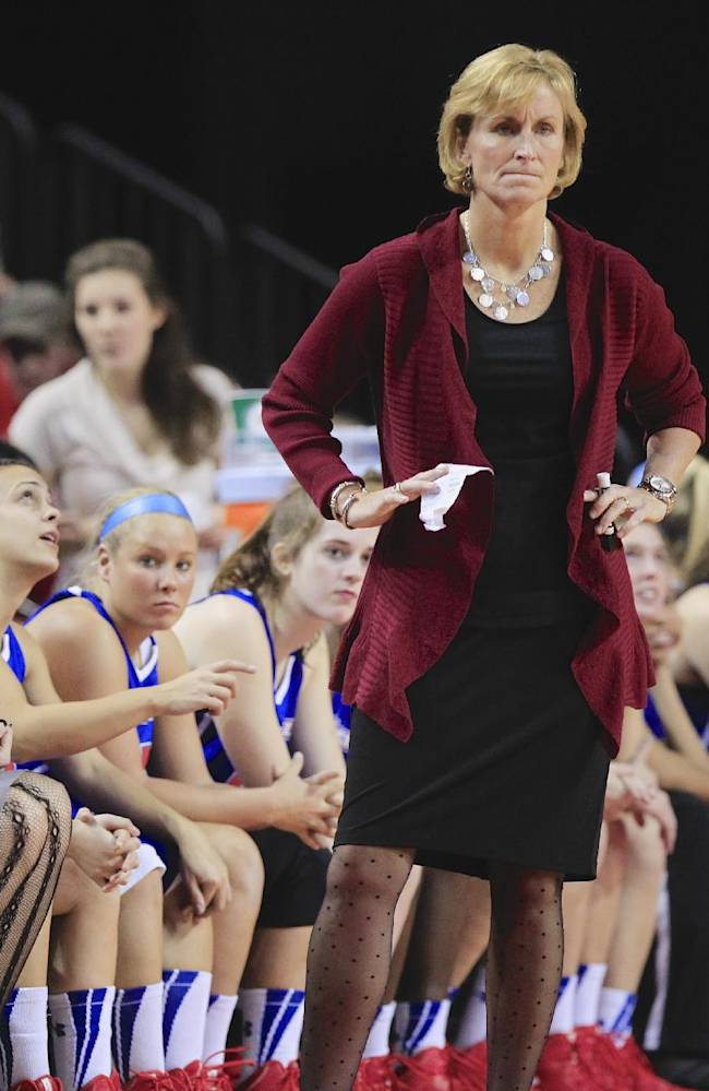 UMass-Lowell coach Sarah Behn stands in front of her bench in the second half of an NCAA college basketball game against Nebraska, in Lincoln, Neb., Wednesday, Nov. 27, 2013. Nebraska won 77-42