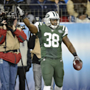 New York Jets fullback John Conner (38) celebrates after scoring a touchdown against the Tennessee Titans on a 9-yard pass in the second half of an NFL football game Sunday, Dec. 14, 2014, in Nashville, Tenn The Associated Press
