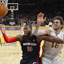 Detroit Pistons forward Greg Monroe, left, and Los Angeles Lakers center Pau Gasol, of Spain, battle for a rebound during the second half of an NBA basketball game, Sunday, Nov. 17, 2013, in Los Angeles The Associated Press