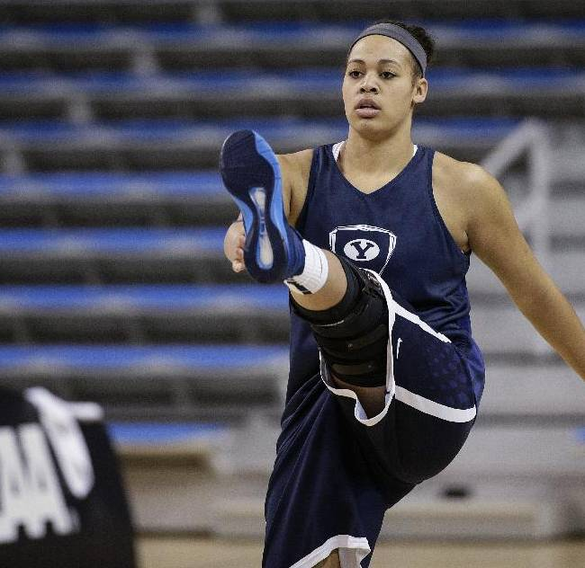 BYU's Morgan Bailey warms up during practice for the NCAA women's college basketball tournament, Friday, March 21, 2014, in Los Angeles. BYU is scheduled to play North Carolina State in a first-round game on Saturday