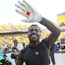 Pittsburgh Steelers wide receiver Antonio Brown (84) celebrates with fans as he walks off the field after a 20-12 win over the Kansas City Chiefs in an NFL football game in Pittsburgh, Sunday, Dec. 21, 2014. (AP Photo/Don Wright)