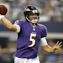 Baltimore Ravens quarterback Joe Flacco (5) throws a pass during the first half of an NFL preseason football game against the Dallas Cowboys, Saturday, Aug. 16, 2014, in Arlington, Texas The Associated Press